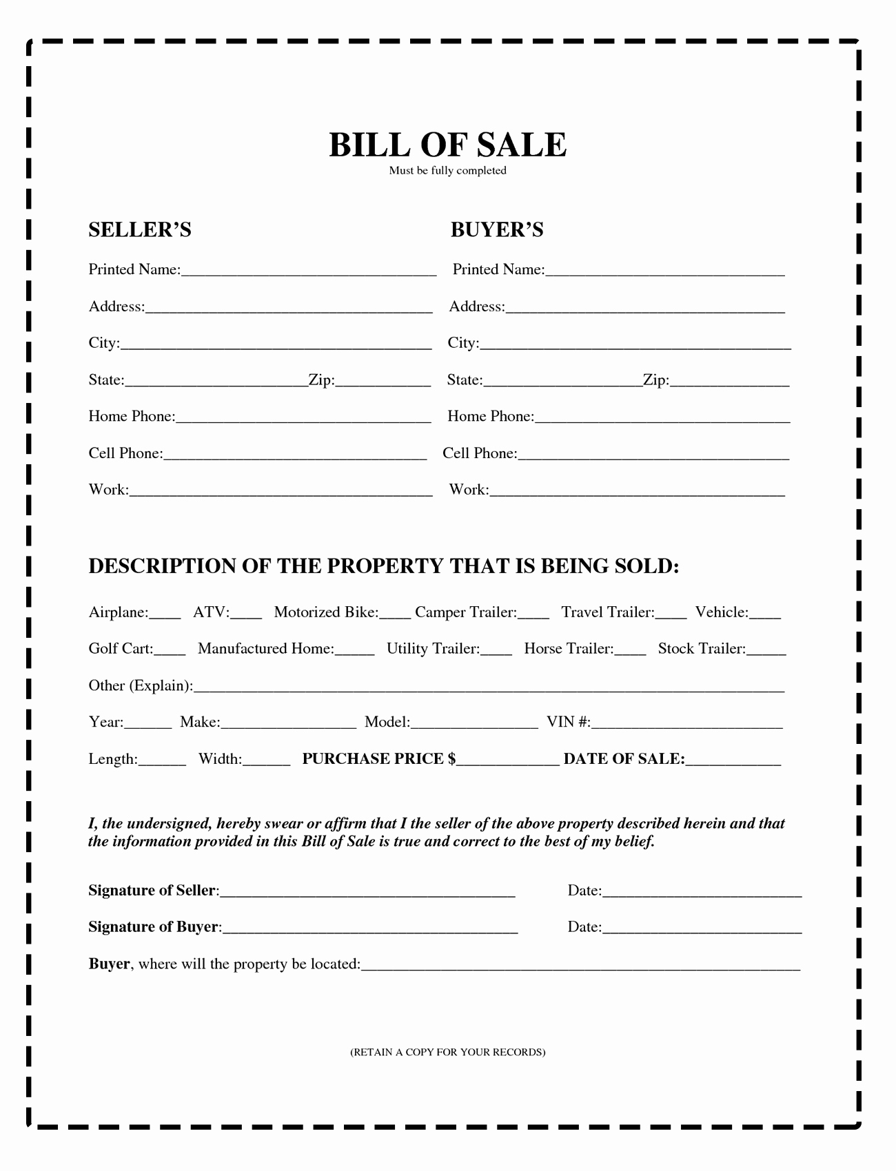 Bill Of Sale form Pdf Luxury Download Bill Sale forms – Pdf & Image