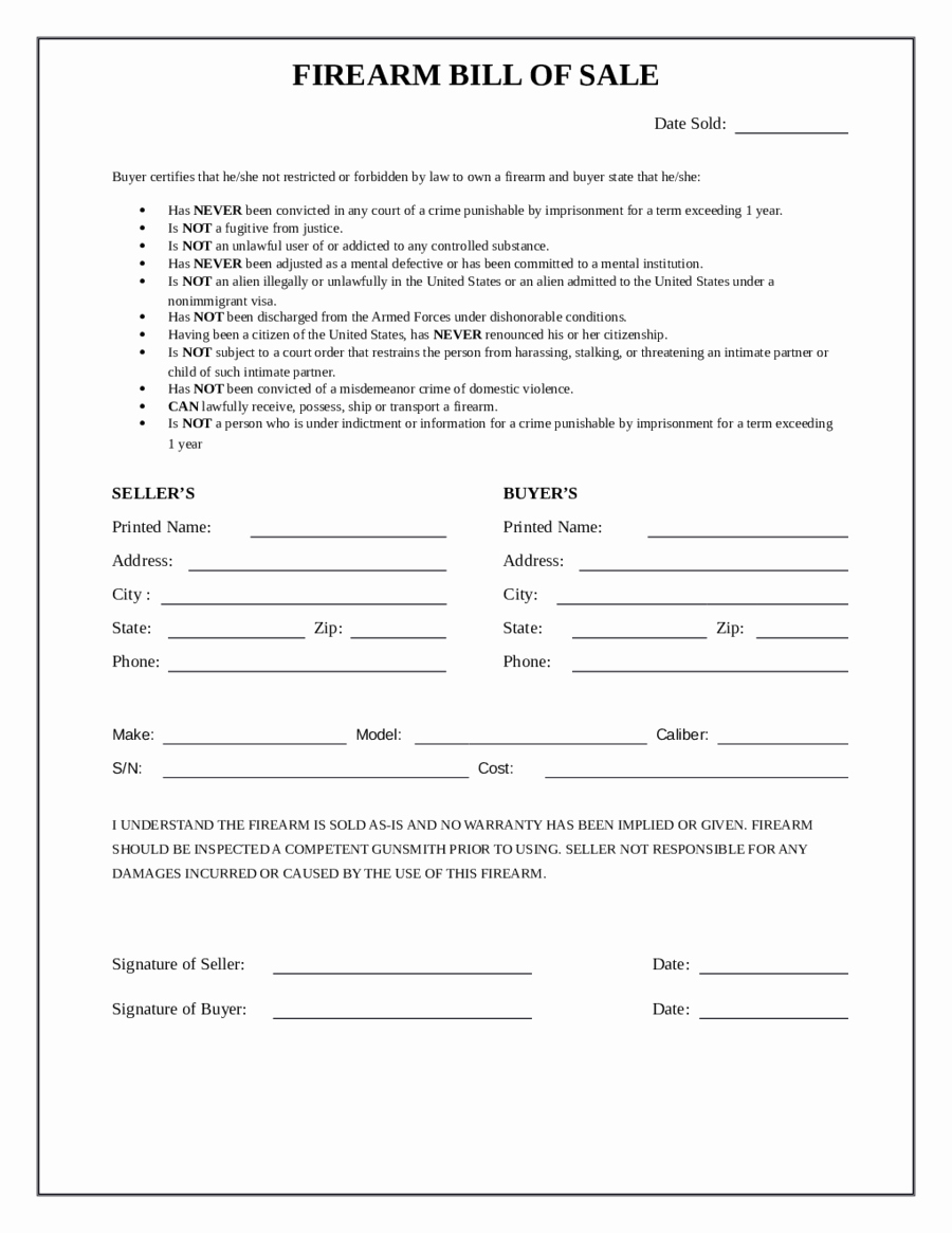 Bill Of Sale form Pdf Unique 2019 Firearm Bill Of Sale form Fillable Printable Pdf