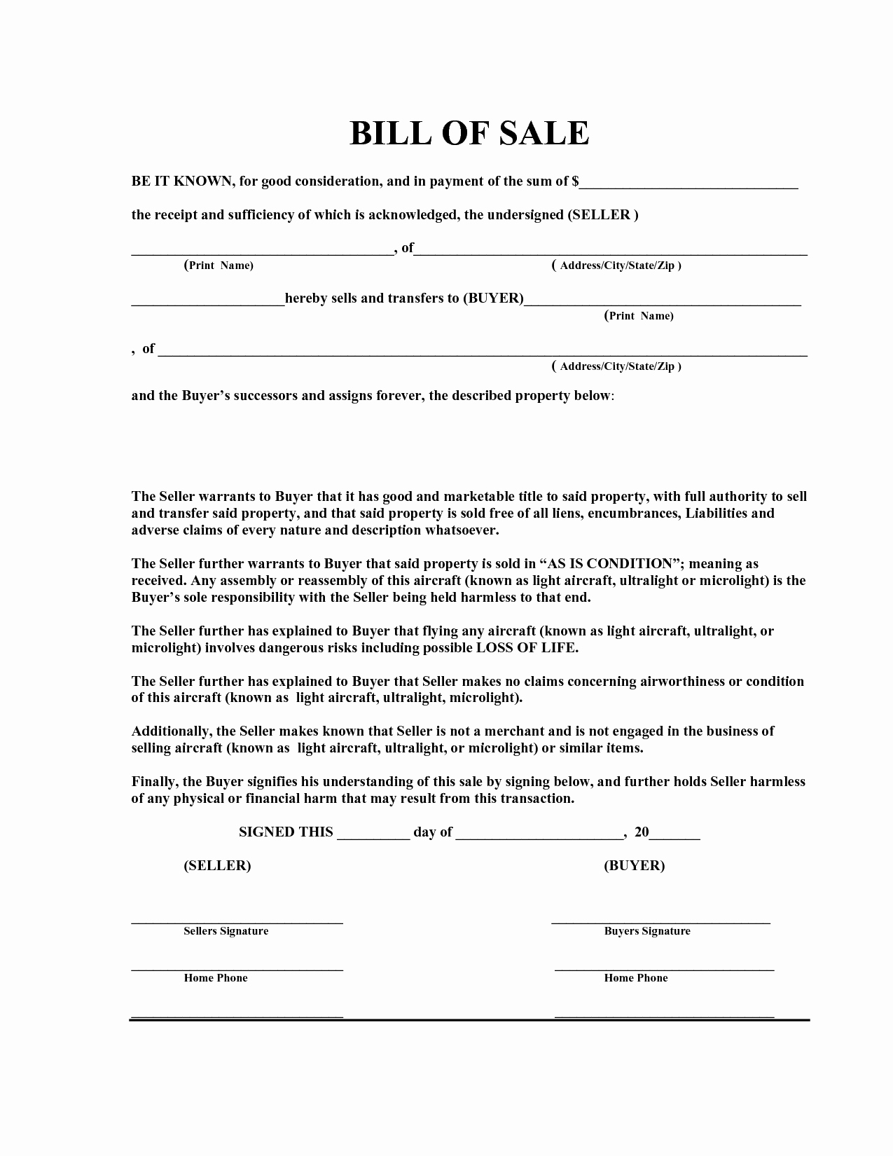Bill Of Sale Free Elegant Free Bill Sale Template