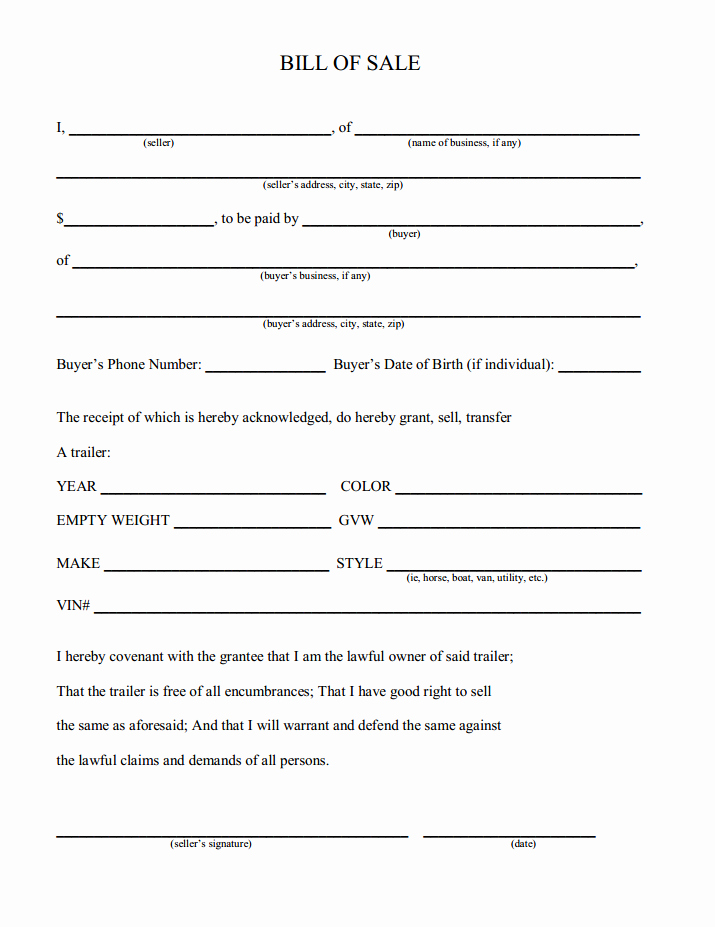 Bill Of Sale Free New Free Printable Camper Bill Of Sale form Free form Generic