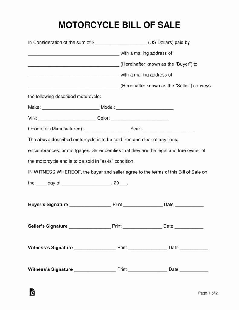 Bill Of Sale Motorcycle Unique Free Motorcycle Bill Of Sale form Pdf Word