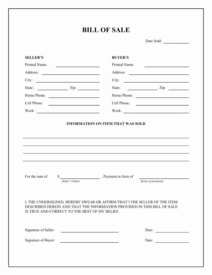 Bill Of Sale Printable Elegant Free General Bill Of Sale form Download Pdf