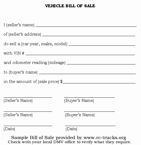 Bill Of Sale Printable Fresh Free Printable Vehicle Bill Of Sale Template form Generic