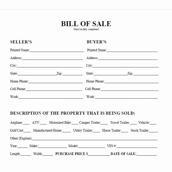 Bill Of Sale Printable Fresh Printable Car Bill Of Sale Pdf