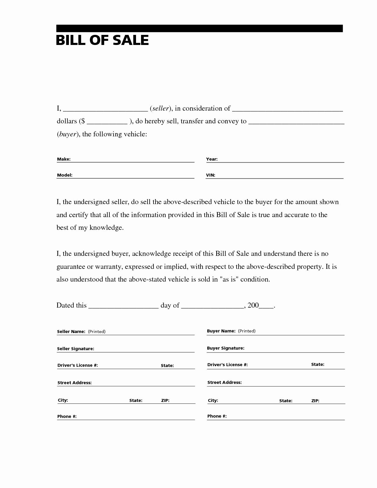 Bill Of Sale Printable Luxury Printable Sample Free Car Bill Of Sale Template form