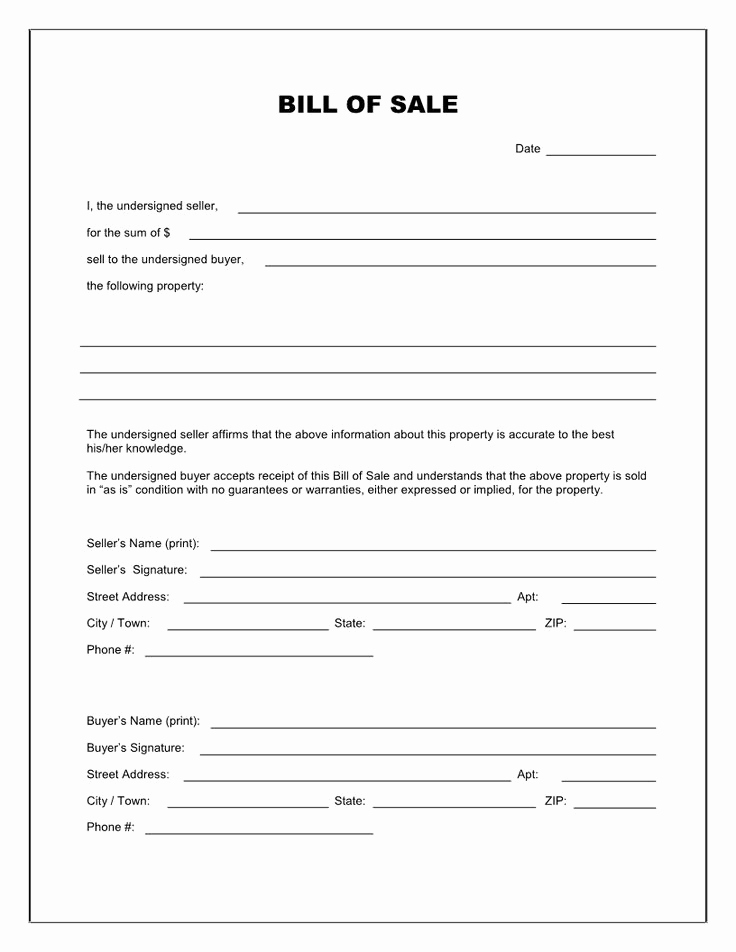 Bill Of Sale Template Free Inspirational Free Printable Blank Bill Of Sale form Template as is