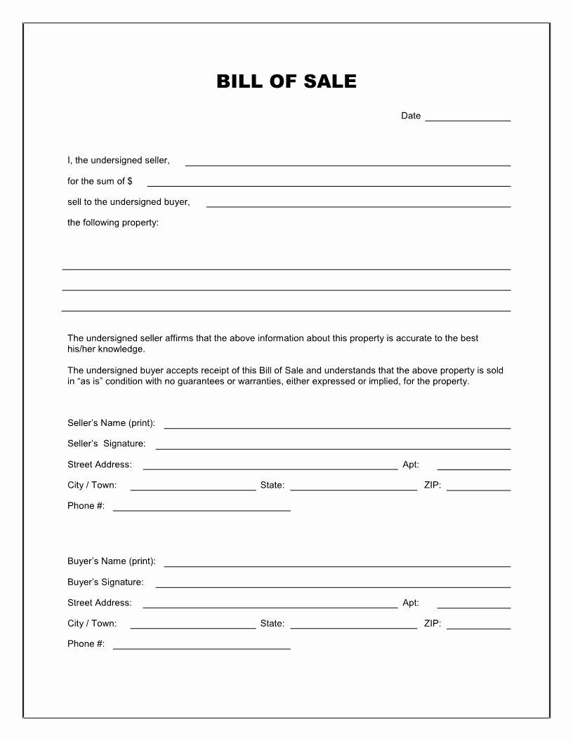 Bill Of Sale Template Free Luxury Free Printable Blank Bill Of Sale form Template as is