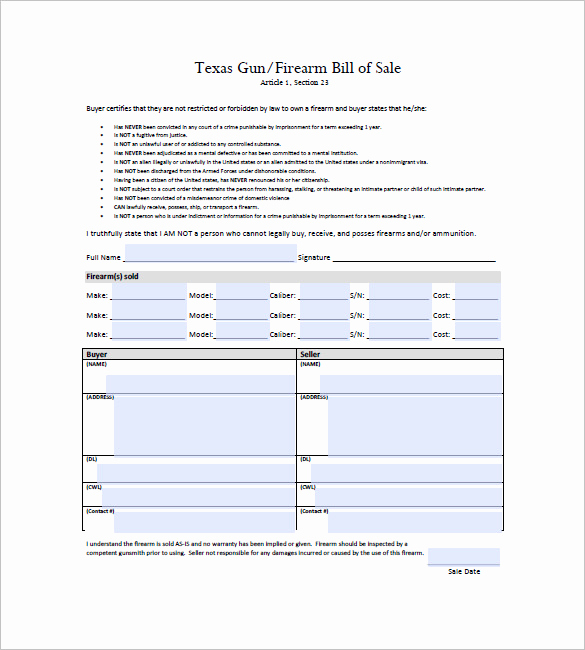 Bill Of Sale Texas Pdf Awesome Gun Bill Of Sale Template – 10 Free Word Excel Pdf