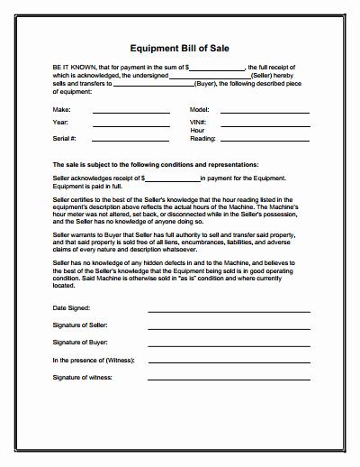 Bill Of Sale Texas Pdf Elegant Equipment Bill Of Sale form Download Create Edit Fill