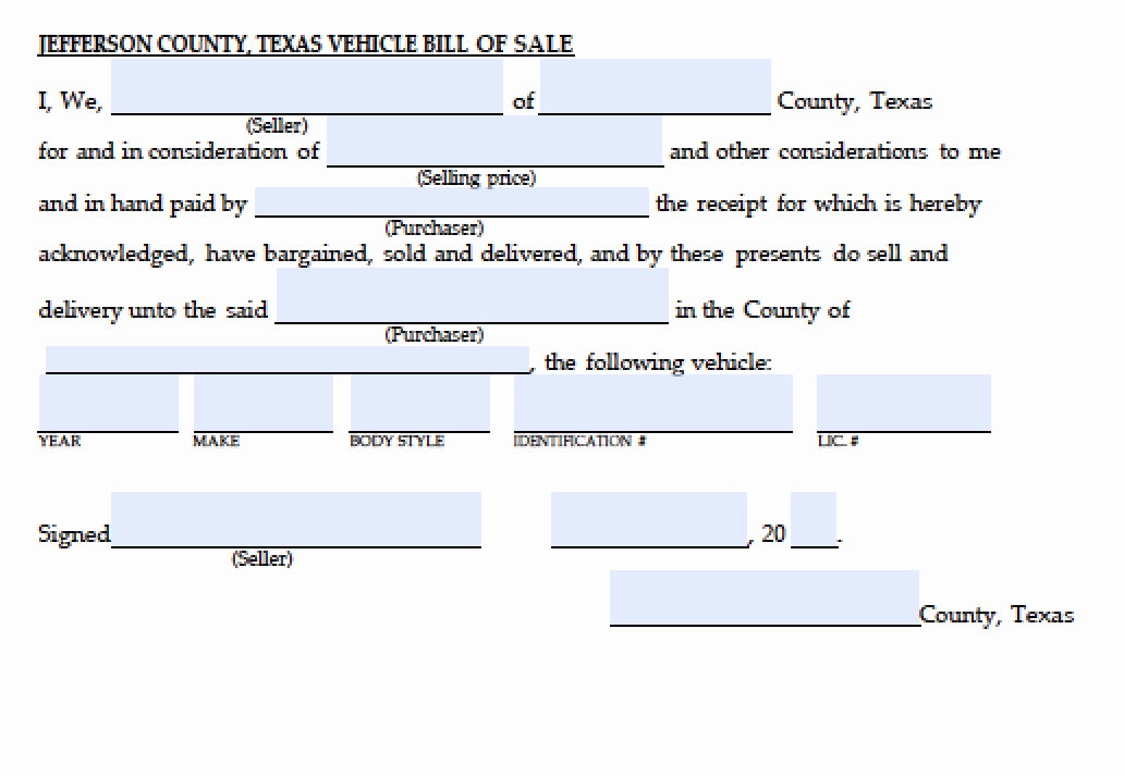 Bill Of Sale Texas Pdf Elegant Free Jefferson County Texas Vehicle Bill Of Sale form