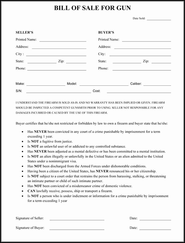 firearm bill of sale form free