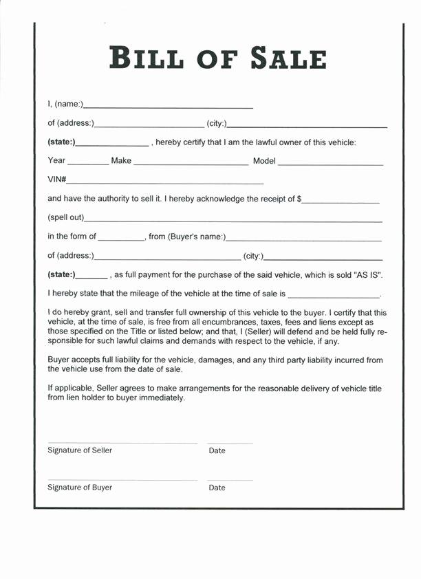 Bill Of Sale Texas Pdf Luxury Free Auto Bill Of Sale Printable Template