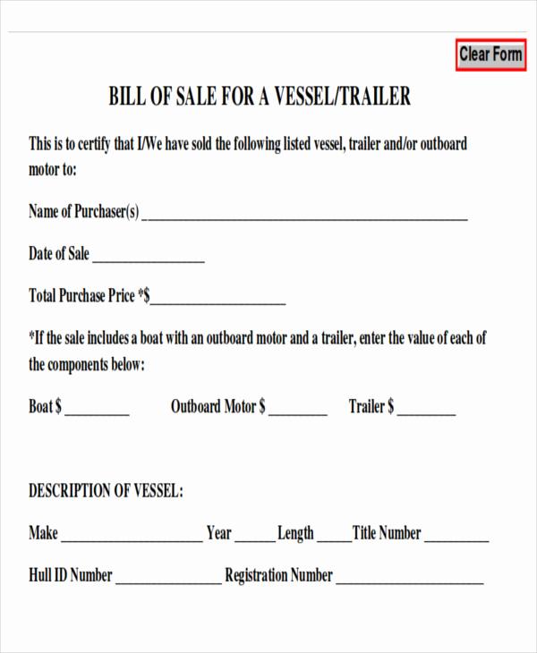 Bill Of Sale Trailer Elegant 7 Generic Bill Of Sales