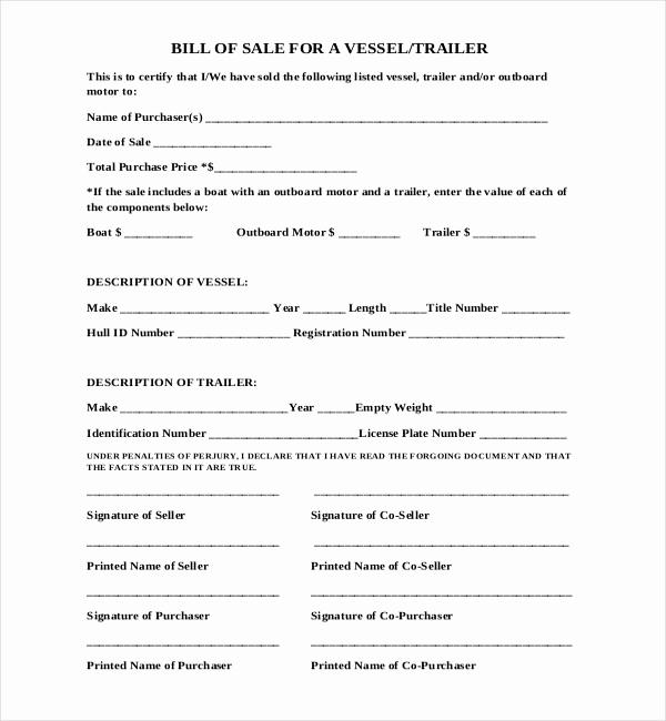 Bill Of Sale Trailer Fresh Sample Boat Bill Of Sale form 15 Free Documents In Pdf Doc