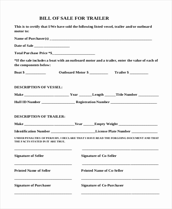 Bill Of Sale Trailer Inspirational Simple Bill Of Sale form Sample 9 Free Documents In Pdf