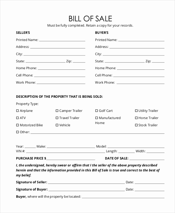 Bill Of Sale Trailer Inspirational Trailer Bill Of Sale form 9 Free Documents In Word Pdf