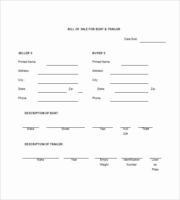 Bill Of Sale Trailer Lovely Trailer Bill Of Sale – 8 Free Sample Example format