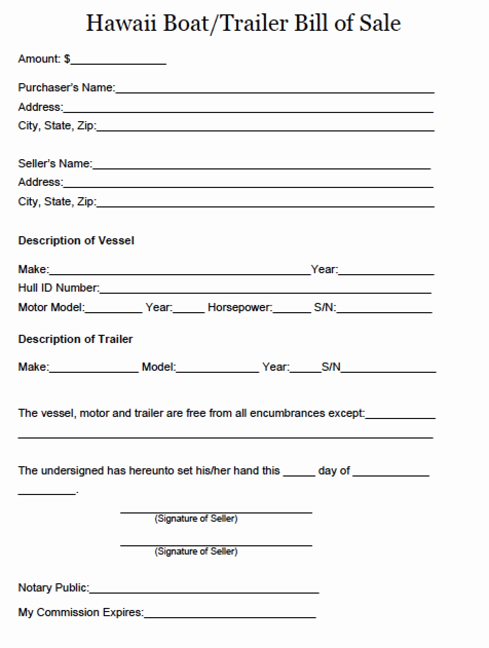 Bill Of Sale Trailer New Free Hawaii Boat and Trailer Bill Of Sale form