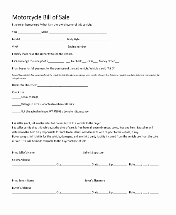 Bill Of Sales Motorcycle Inspirational Sample Generic Bill Of Sale form 10 Free Documents In Pdf