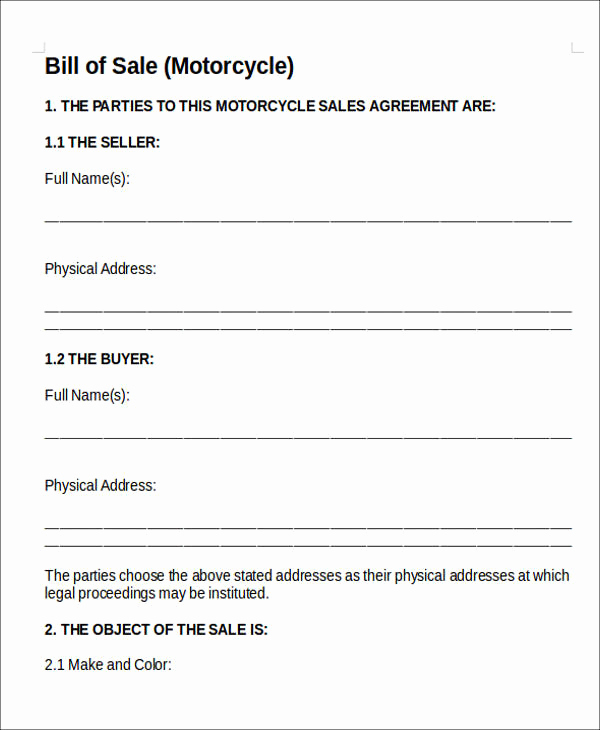 Bill Of Sales Motorcycle Lovely 11 Vehicle Sales Agreement Samples Free Word Pdf