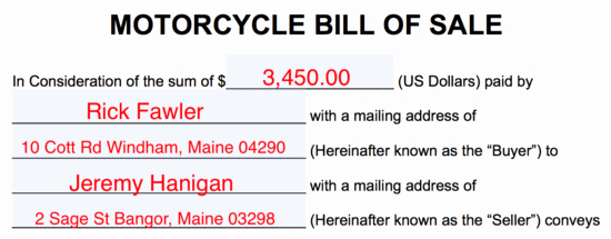 Bill Of Sales Motorcycle New Free Motorcycle Bill Of Sale form Pdf Word