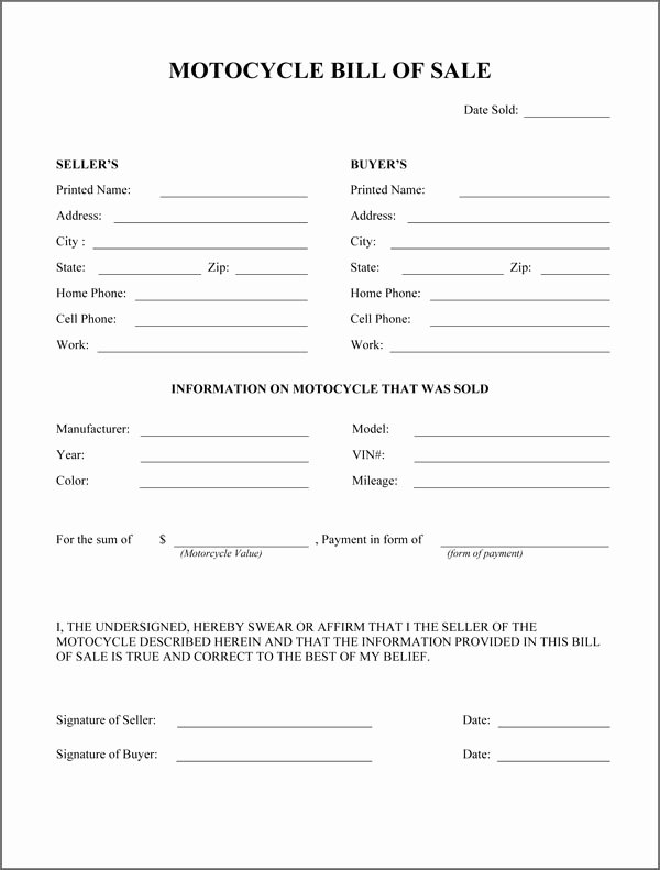 Bill Of Sales Motorcycle New Motorcycle Bill Sale form