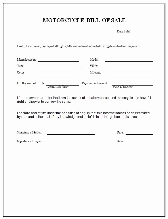 Bill Of Sales Motorcycle Unique Printable Sample Free Car Bill Of Sale Template form