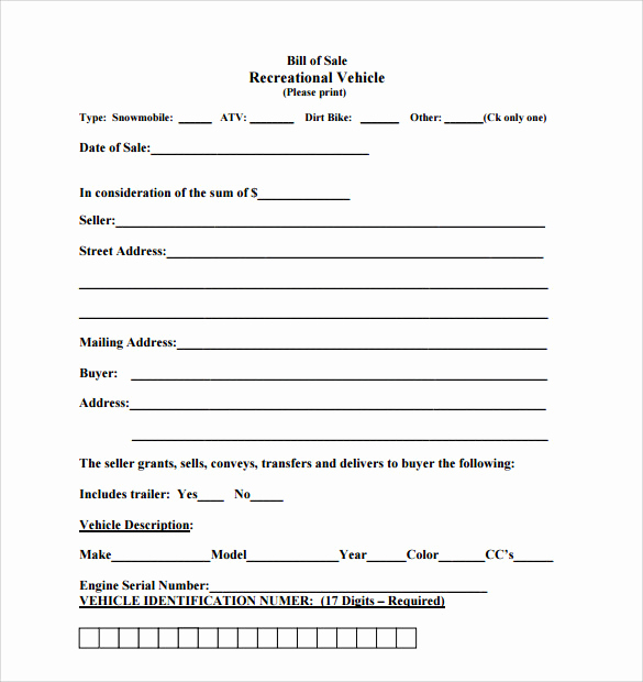 Bill Of Sales Motorcycle Unique Sample Auto Bill Of Sale 7 Documents In Pdf