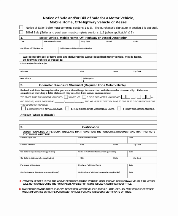 Bill Of Sales Motorcycle Unique Simple Bill Of Sale 10 Examples In Word Pdf