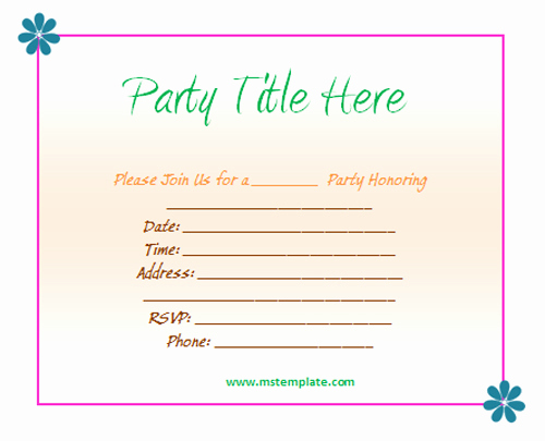 Birthday Invitation Templates Word Awesome Birthday Invitation Templates Word Free — Birthday
