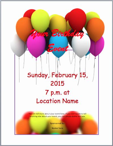 Birthday Invitation Templates Word Inspirational Birthday Party Invitation Flyer Template 3 Printable