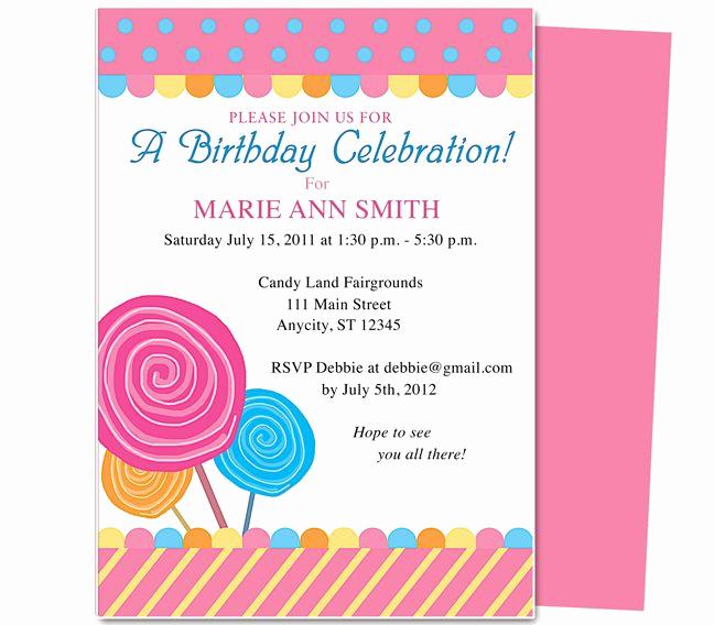 Birthday Invitation Templates Word Inspirational Kids Party Lollipop Kids Birthday Party Invitation