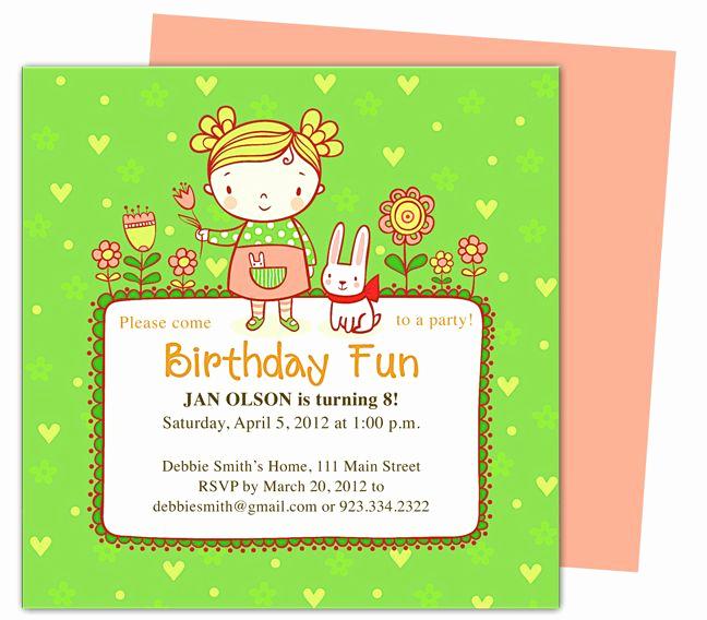 Birthday Invitation Templates Word Lovely Abby Kids Birthday Party Invitation Templates Perfect for