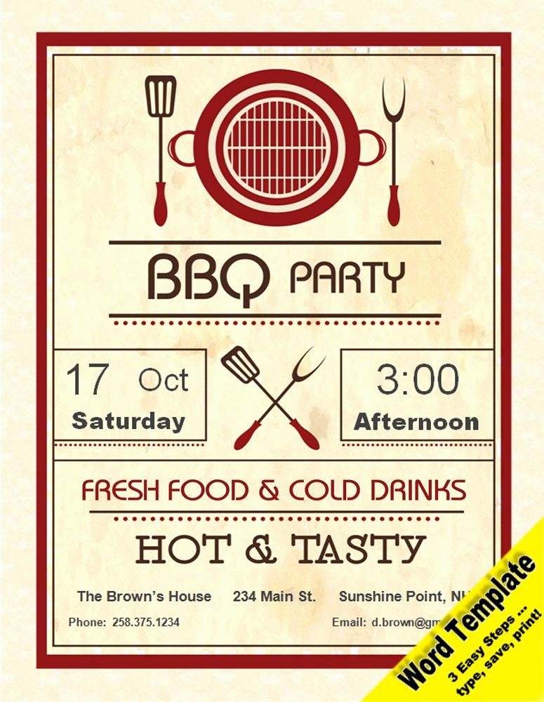Birthday Invitation Templates Word New Barbecue Party Invitation Editable Word Template Printable