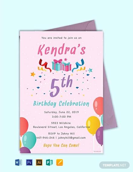 Birthday Invitation Templates Word New Free 5th Birthday Invitation Template Download 637
