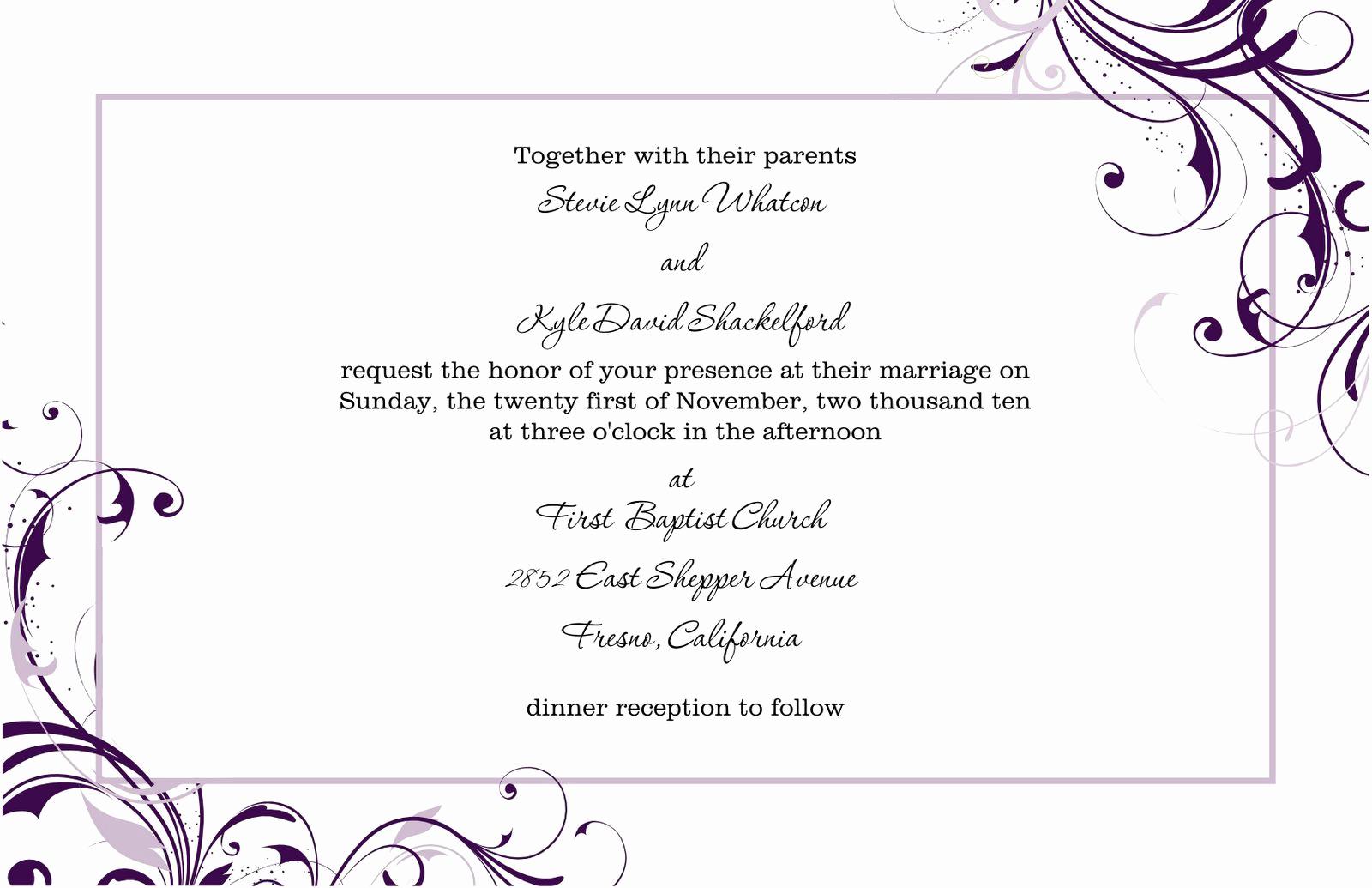 Birthday Invitation Templates Word New Free Blank Wedding Invitation Templates for Microsoft Word