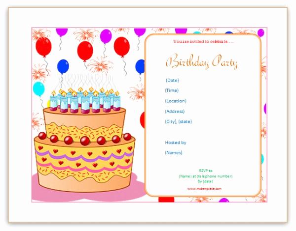 Birthday Invitation Templates Word Unique Microsoft Word Templates Birthday Invitation Templates