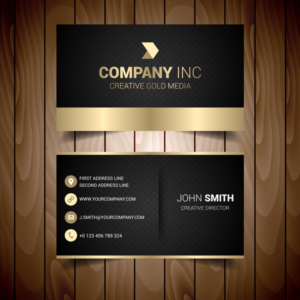 Black and Gold Business Cards Luxury Black and Gold Elegant Business Card Free Vector In Adobe