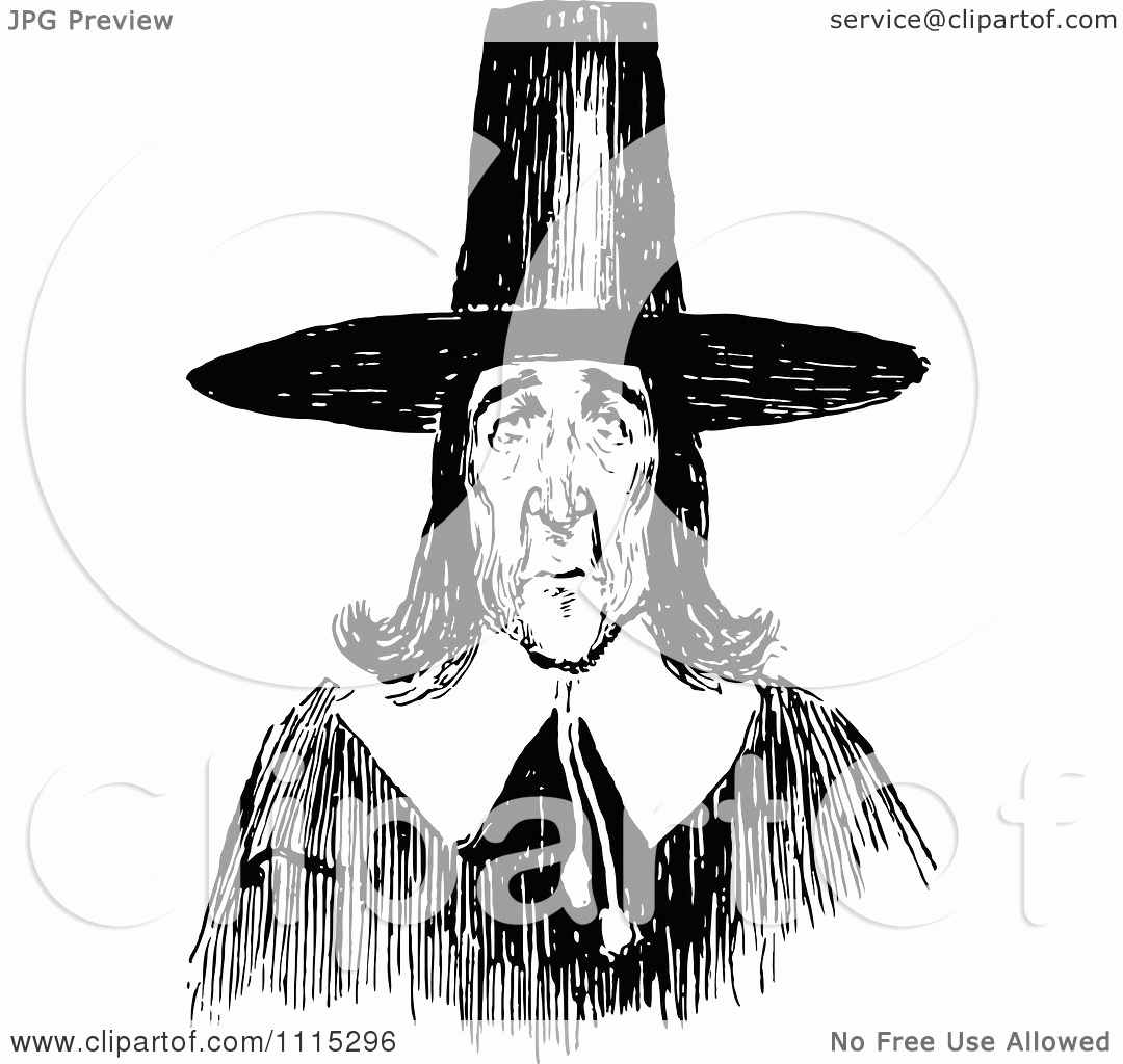 Black and White Illustration Awesome Clipart Vintage Black and White Puritan Man Royalty Free
