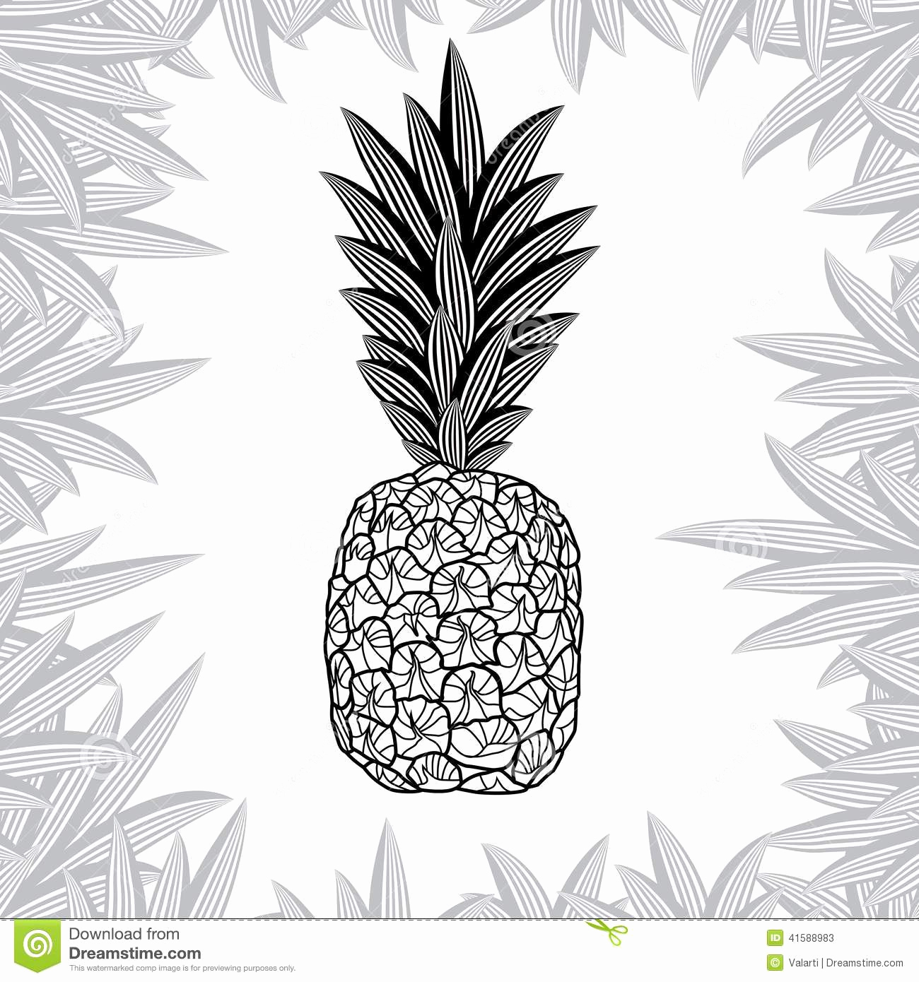 Black and White Illustration Beautiful Pineapple isolated White Background Vector