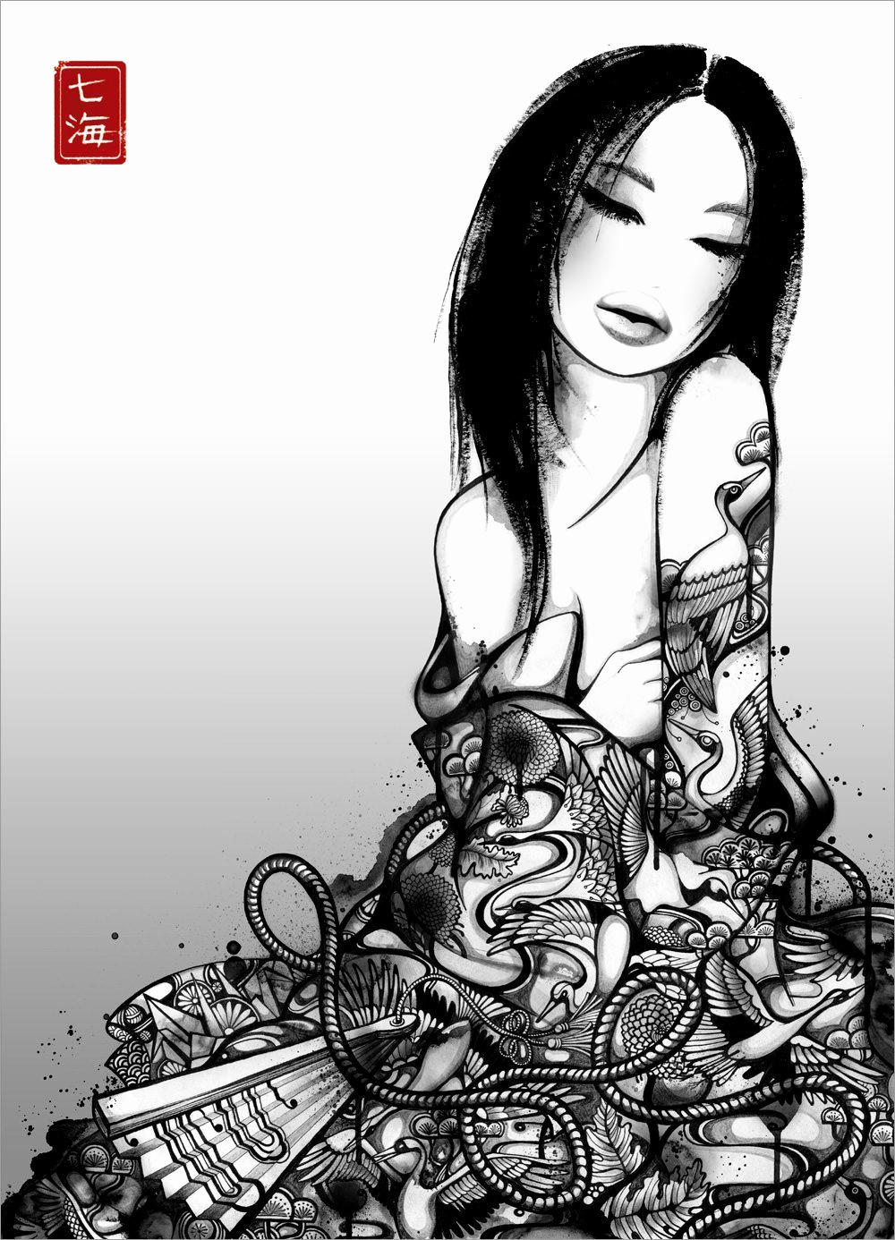 Black and White Illustration Elegant A Geisha Sits In A Robe that Es to Life In This Black