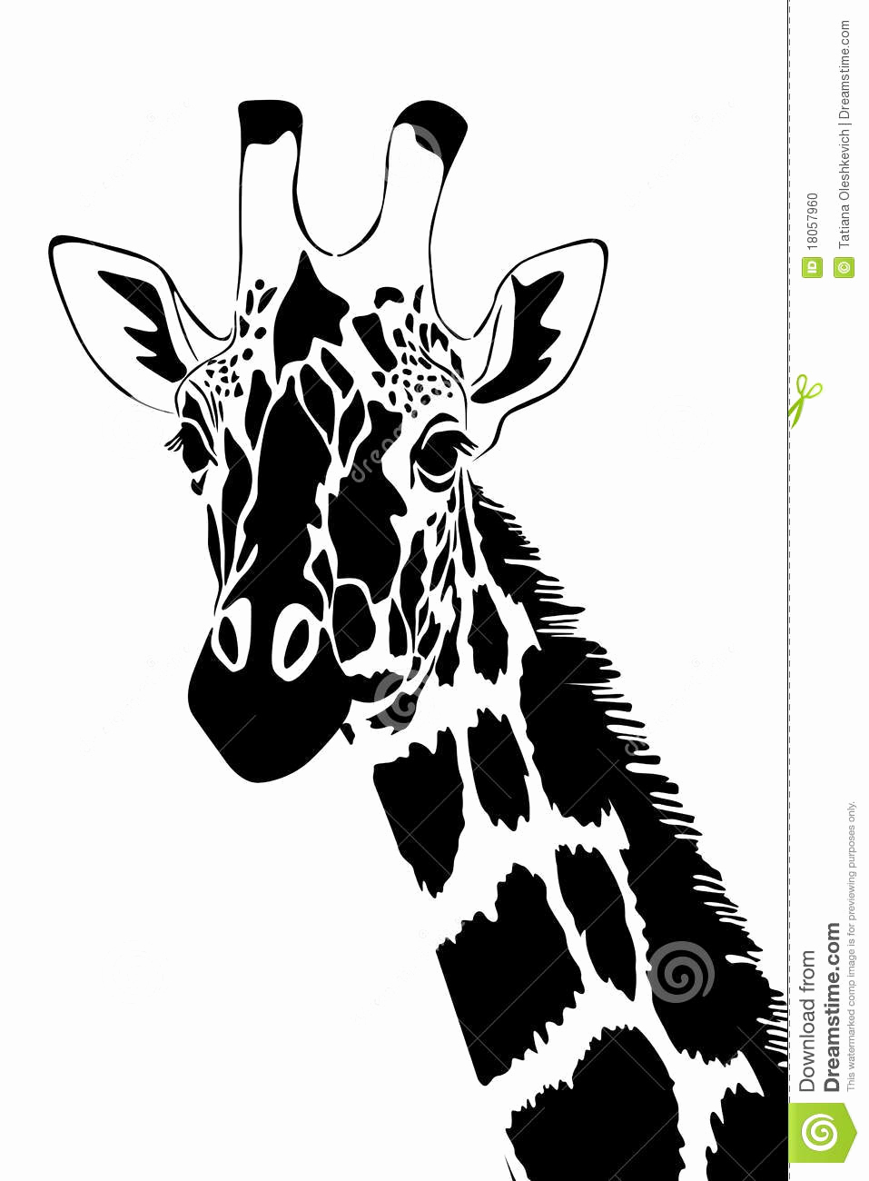 Black and White Illustration Fresh Giraffe In Black and White Stock Illustration
