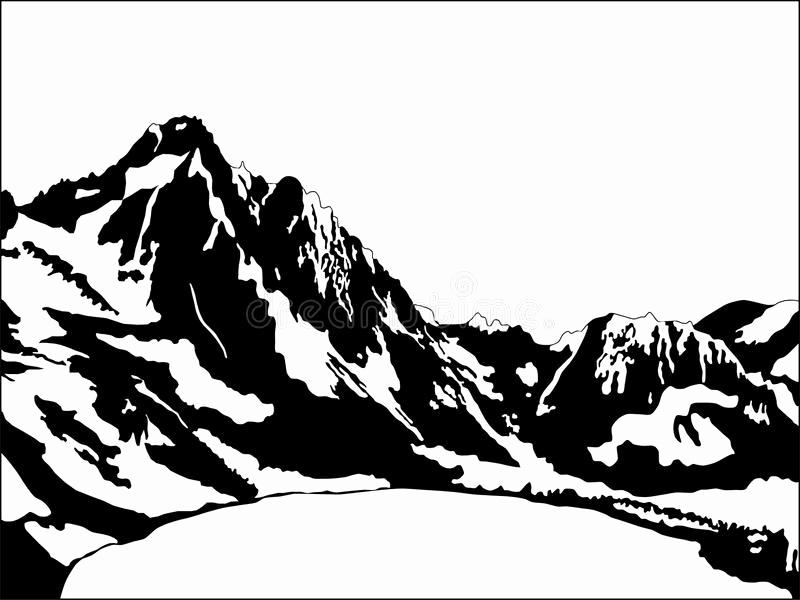 Black and White Illustration Inspirational Black and White Mountain Stock Vector Illustration Of