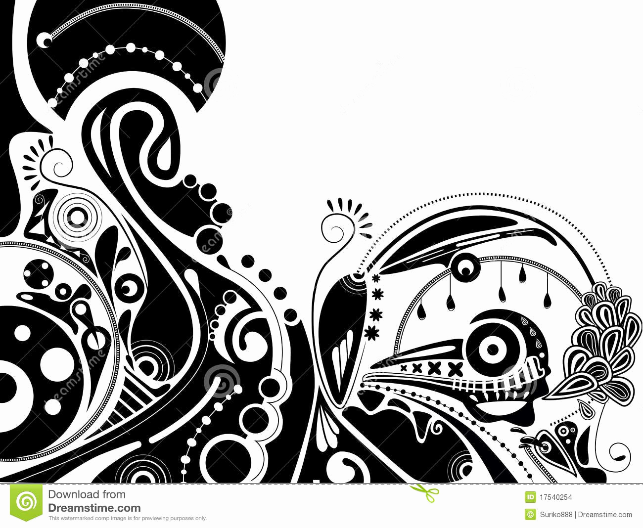 Black and White Illustration Inspirational Black and White Psychedelic Illustration Stock Vector