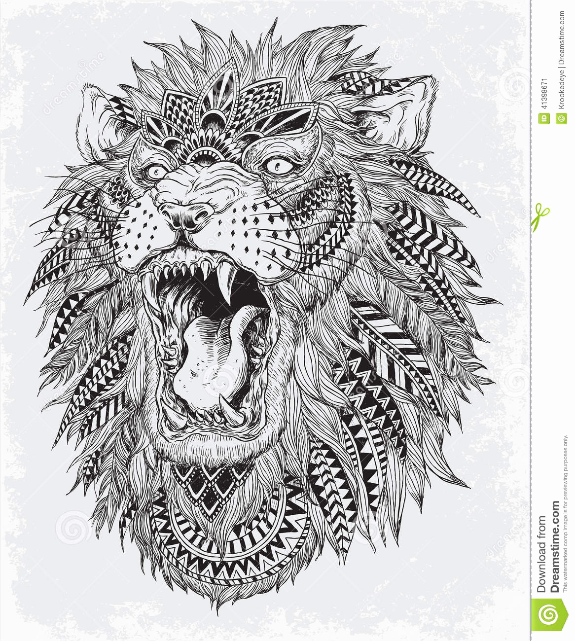 Black and White Illustration Lovely Hand Drawn Abstract Lion Vector Illustration Stock Vector