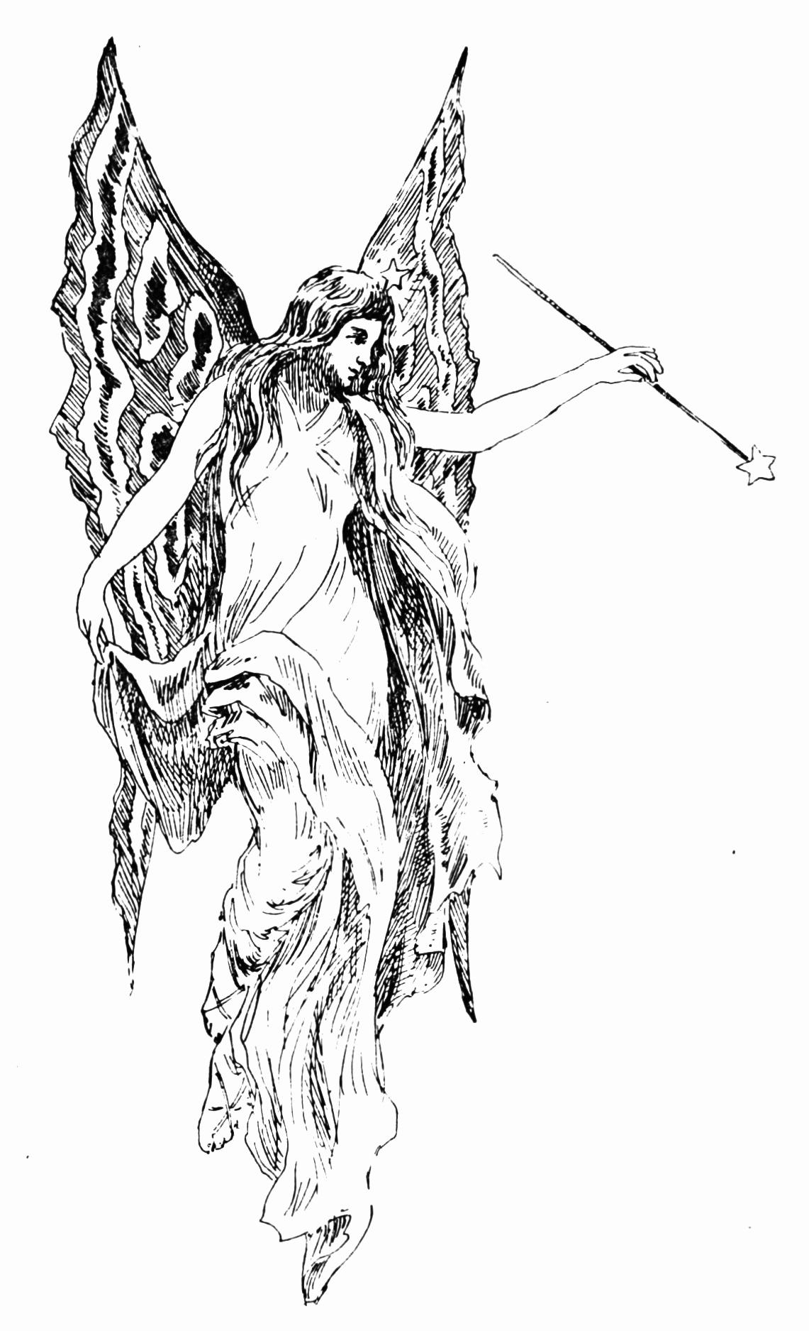 Black and White Illustration Lovely Vintage Fairy Illustration Clip Art the Graffical Muse
