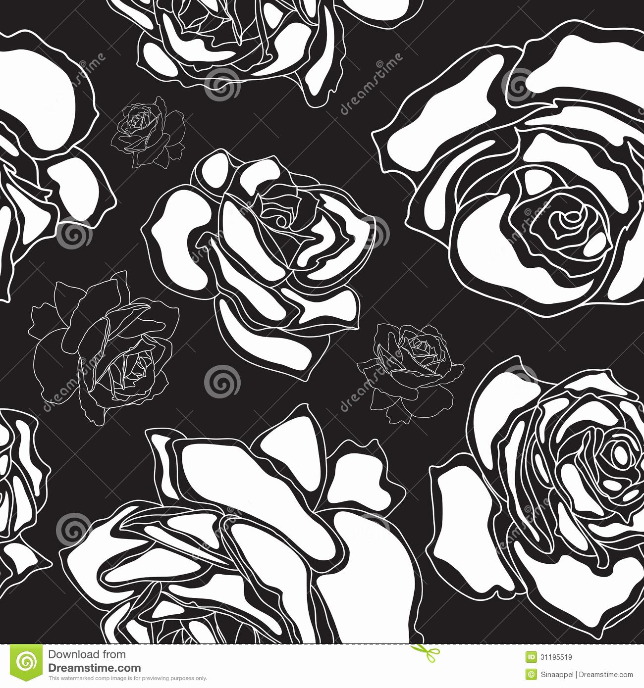Black and White Illustrations Elegant Seamless Pattern White Roses A Black Backgroun Stock