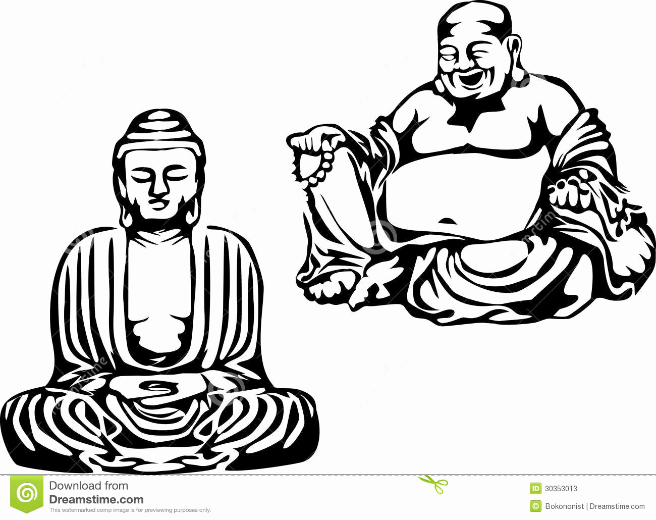 Black and White Illustrations New Buddha Stock S Image
