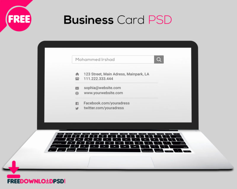 Blank Business Card Template Psd Awesome Free Laptop Business Card Psd