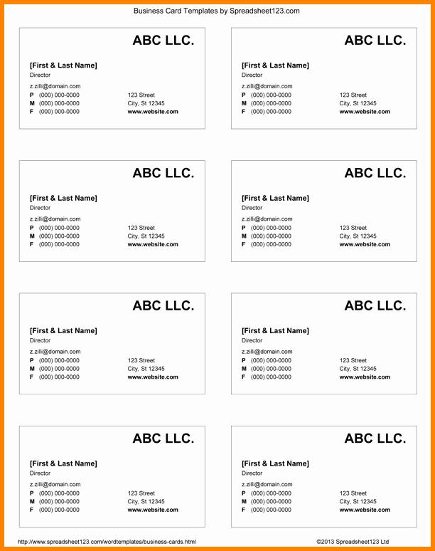 Blank Business Card Template Word Elegant 10 Business Card Template Word